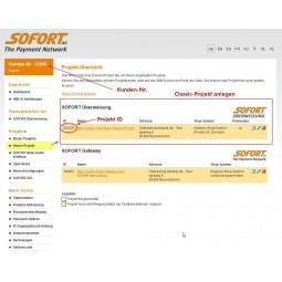 Sofortbanking, Projekt Übersicht, Classic Projekt anlegen