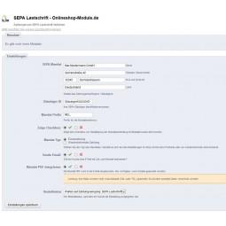 SEPA Lastschrift, Konfiguration Back-Office