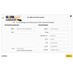 SEPA Lastschrift, Auswahl Zahlungsmodul und Eingabe von IBAN / BIC