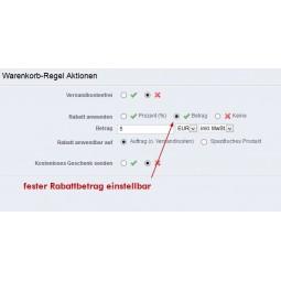 Warenkorbregel Vorkasse-Rabatt fester Rabattbetrag