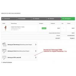 SEPA Lastschrift Auswahl der Zahlungsart original PrestaShop 1.6