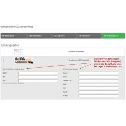 SEPA Lastschrift Auswahl der Zahlungsart mit EU-Legal / Button-Lösung und Bestellseite