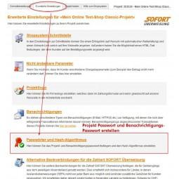 Sofortbanking, Projekt-Passwörter anlegen
