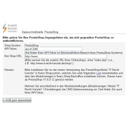 IT-Recht-Kanzlei - PrestaShop Datenschnittstelle im Mandantenportal