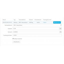 Presta Plus Back Office: Versanddienst, Gewicht und Trackingnummer ändern