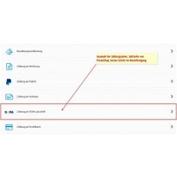 SEPA Lastschrift möbile Zahlungsauswahl /Smartphone & Tablet