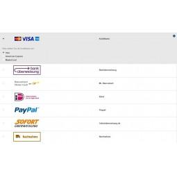Ingenico Kreditkarte, Zahlarten Anzeige im Front Office (hier mit EU Legal)