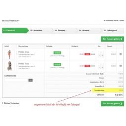 Presta Plus für PrestaShop: kompatible Zahlungsarten zeigen im Warenkorb den Rabatt oder Zahlungsaufschlag an