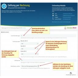 Rechnung, Zahlungsmodul PS1.7, Konfiguration, Einstellungen im Back Office