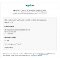 Vorkasse, Zahlungsmodul PS1.7.x, E-Mail mit Vorkasse-Informationen