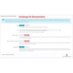 Erweiterte Steuer Modul für PrestaShop 1.7 - Einstellungen für die Kleinunternehmerregelung