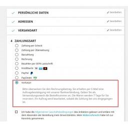 Vorkasse, Zahlungsmodul PS1.7.x, Auswahl Bezahlseite