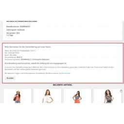 Vorkasse, Zahlungsmodul PS1.7.x, Bestellbestätigungsseite und Anzeige der Baninformationen zur Überweisung