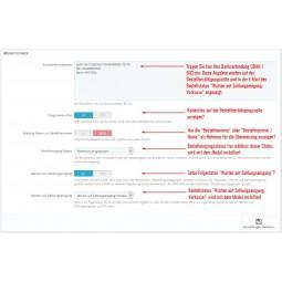 Vorkasse, Zahlungsmodul PS1.7.x, Einstellungen mit Bankdaten Block, Anzeige und Bestellstatus Optionen