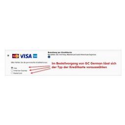 Kreditkarten Auswahl im Prestashop GC German Bestellvorgang, VISA, Mastercard oder American Express