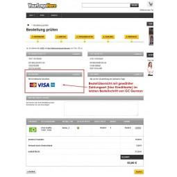 Bestellübersicht, Zahlung mit  Kreditkarte im Bestellvorgang (GC German)